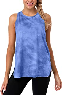 ATTRACO Women Loose Fit Workout Tank Top Tie Dye Racerback Yoga Top Running Shirts