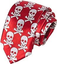 Secdtie Men Novelty Super Skinny Ties Skull Print Halloween Cospaly Thin Necktie