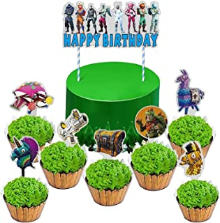 JHF55 For/_tnite Cupcake Toppers Happy Birthday Party Supplies for Kids Boys Game Party Cake Decorations 24 PCS