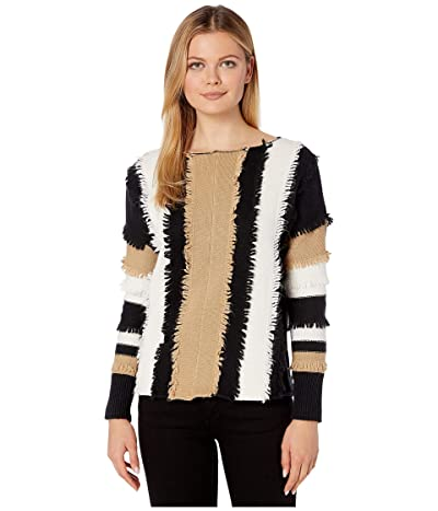 Vince Camuto Long Sleeve Color Block Loopstitch Stripe Boat Neck Sweater (Latte) Women