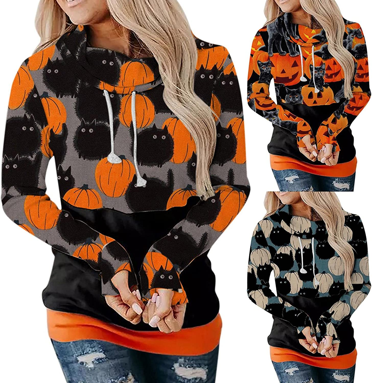 Fudule Halloween Shirts for Women Funny Pumpkin Cat Graphic Costumes Casual Long Sleeve Hoodies Lightweight Sweatshirts
