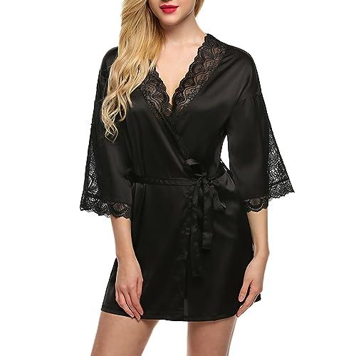 1bfe16b1fd Ekouaer Robes Womens Short Kimono Bathrobes Satin Sleepwear Lingerie (XS-XL)