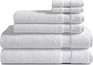 100% Cotton 6-Piece Towel Set (White): 500 GSM 2 Bath Towels, 2 Hand Towels and 2 Washcloths, Classic Amercian Constructio...