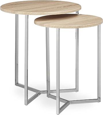 Relaxdays 10020362_126 Set Tavolini/Tavoli da/per Soggiorno, Legno, Naturale, 50x50x57 cm