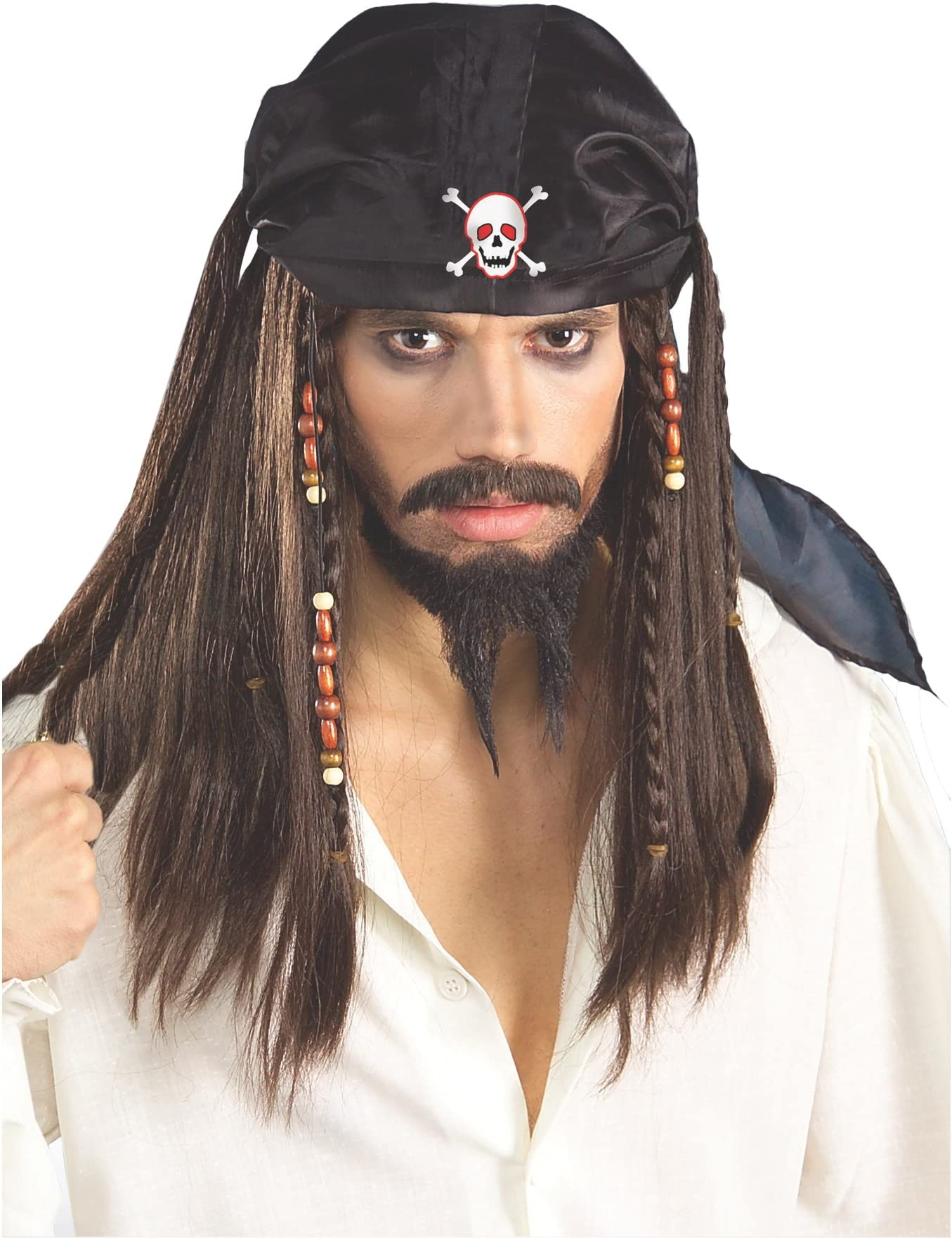Caribbean Pirate Hat /& Attached Wig Mens Fancy Dress Costume Adult Accessory