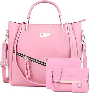 Shining Star Women's peach Handbag with Sling Bag+clutch Combo
