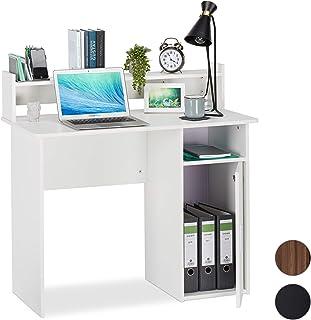 Relaxdays Rangement, Casier-étagère du côté Droit, Bureau Dimensions HlP 96x100x50 cm, Blanc, Panneau de Particules, Weiß,...