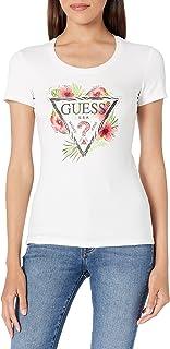 Guess Camiseta Blanca de Jersey de Manga Corta para Mujer con Flores W1GI0NJ1311-TWHT