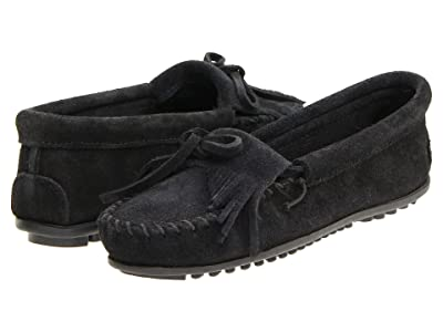 Minnetonka Kilty Suede Moc (Black Suede) Women