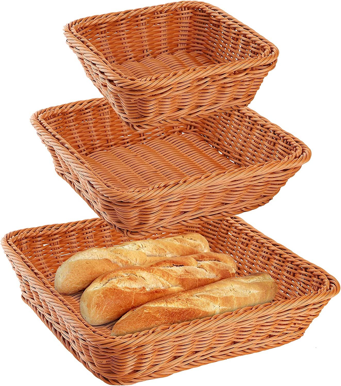 ZOOFOX Set of 3 Poly-Wicker Bread Basket, Tabletop Food Vegetables Serving Basket, Square Sundries Storage Tray for Restaurant