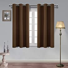 Homedocr Thermal Insulated Blackout Curtains for Bedroom and Living Room Privacy Protection and Noise Reducing Grommet Window Curtains, 42 x 54 Inches Length, Brown, 2 Drape Panels