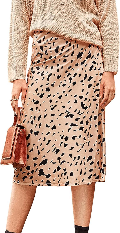 Verdusa Women's Elegant Satin High Waist Printed Zip Up A Line Flared Midi Skirt