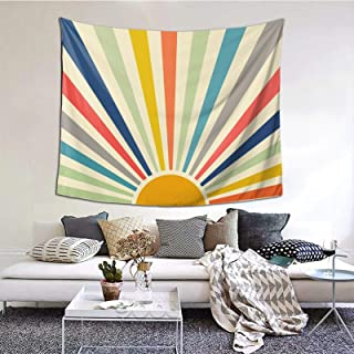 Abstract 80s Retro Sunshine Landscape Tapestry, Bohemian Style Wall Hanging Tapestries Curtain, Indian Art Print Mural Tab...