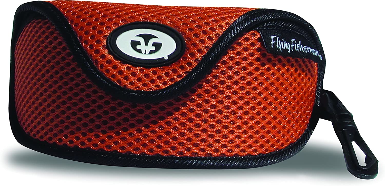 Flying Fisherman Zipper Shell Sunglass Case, Belt Loop and Clip (Black)