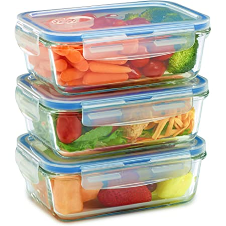 3 Pack Glass Meal Prep Containers for Food Storage and Prep w/Snap Locking Lids Airtight & Leak Proof - Oven, Dishwasher, Microwave, Freezer Safe - Odor and Stain Resistant (6 total pieces)
