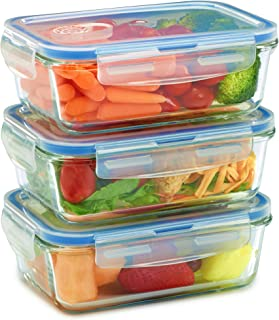 Glass Meal Prep Containers for Food Storage and Prep w/Snap Locking Lids (3|6|36PK) Airtight & Leak Proof - BPA Free - Oven, Dishwasher, Microwave, Freezer Safe - Odor and Stain Resistant