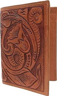 Mauzari Passport Holder for Women Hand Tooled Leather Designer Vintage (Natural)