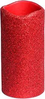 Christmas Red Glitter Flameless Led Candle With Timer, Battery Operated Candle for Wedding and Home Decor, 3x6 inches