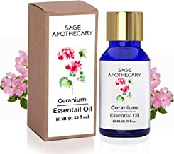 Sage Apothecary 100% Pure & Natural Geranium Essential Oil, 10 ML - Face, Skin & Body Care