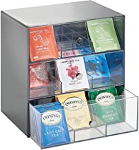 mDesign Storage Box for Teabags, Coffee Pods, Sugar and More – Plastic Tea Chest with 27 Compartments – Kitchen Organiser ...