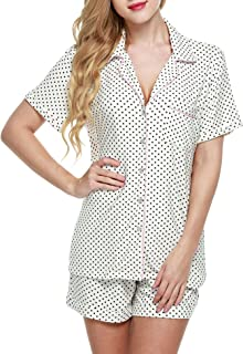 Pajamas Set Short Sleeve Sleepwear Womens Button Down Nightwear Soft Pj Lounge Sets XS-XXL