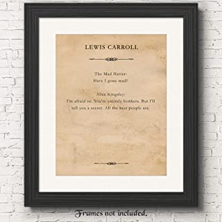 Lewis Carroll Alice in Wonderland Mad Hatter Print 11x14 Unframed Typography Book Page Poster Picture, Great Wall Art Book Quotes Decor Gifts Under 15 for Home, Office, Book Lover, Student, Teacher