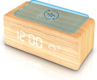 Wooden Alarm Clock with Wireless Charging Pad, LED Digital Clock with Large Date and Temperature Display, Sound Control, A...