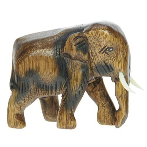 Namesakes Small Hand Carved Wooden Elephant Ornament Top Christmas And Birthday Gift Idea Traditional