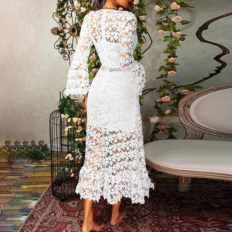 Women's Vintage Floral Lace Dress V-Neck Long Sleeve Solid Lace Comfy Dress Cocktail Formal Photography Wedding Dress
