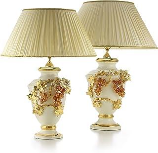 Ceramiche Stella, lampada Bacco media in ceramica beige, paralume in stoffa, tutto fatto a mano, con Swarovski ambra, rifi...