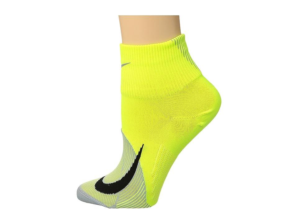 Nike Elite Lightweight Quarter Running Socks (Volt/Wolf Grey/Black) Quarter Length Socks Shoes