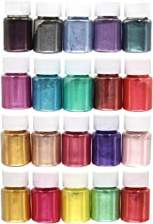 20 Colors Epoxy Resin Pigment Mica Powder Pearl Pigments Slime Dye Powder Soap Dye (0.35oz Each)- Soap Making Colorants Set Colorants for Slime Coloring, Bath Bomb