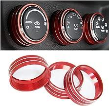Sporthfish 3Pcs Aluminum Alloy Interior Audio Air Condition Twist Switch Ring Control Button Trim Cover for Jeep Wrangler JK JKU Patriot 2011-2018 dodge ram challenger 2008-2014 (Red)