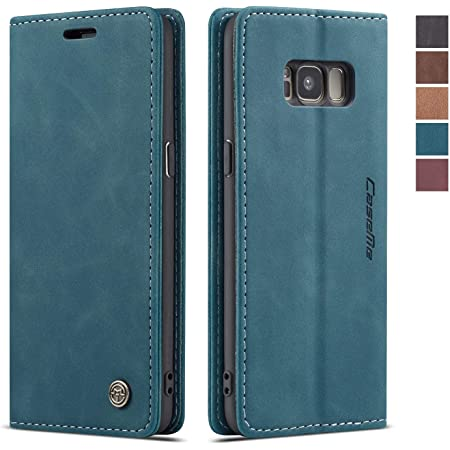 Samsung Galaxy S8 Case,Samsung Galaxy S8 Wallet Case Cover, Magnetic Stand Flip Protective Cover Leather Flip Cover Purse Style with ID & Credit Card Slots Holder Case for Samsung Galaxy S8 (Blue)