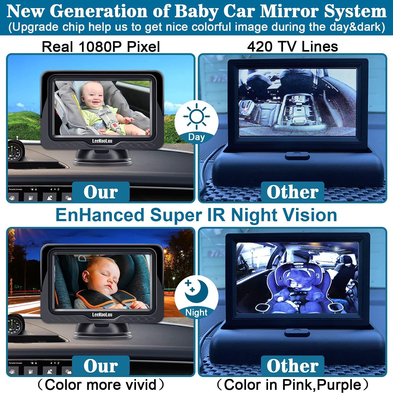 Baby Car Mirror,HD 1080P Baby Camera Monitor for Car Back Seat Full View Infant with 4.3'' Display Provide Vivid Picture,Car Baby Monitor with Camera Super IR Night Vision,LeeKooLuu LK12