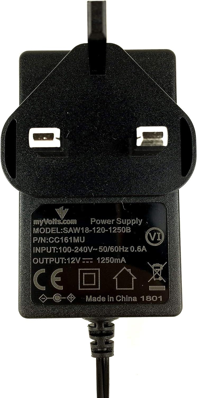 MyVolts UK power lead 12V plug compatible with Yamaha Keyboard PSR-36
