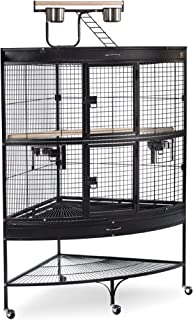 Prevue Hendryx Corner Parrot Signature Series Wrought Iron Bird Cage in Black