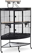 Prevue Hendryx Corner Parrot Signature Series Wrought Iron Bird Cage in Black