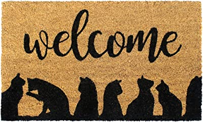 """Rugsmith Black Welcome Cats Silhouette Machine Tufted Doormat, 18"""" x 30"""", Natural"""