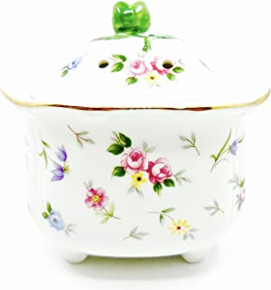 Rosebud Potpourri Bowl,Rosebud Lid,white with Roses print,Ceramic
