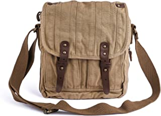 Vintage Canvas Messenger Bag Small Unisex Shoulder Satchel, Khaki