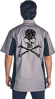 SHORE TRENDZ Men's Mechanic Work Shirt White Skull with Crossed Bones