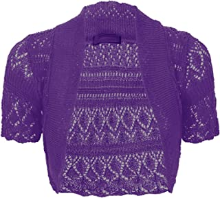 Women Ladies Knitted Short Sleeve Crochet Shrug Bolero Cardigan SZ 8-26