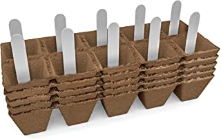Seed Starter Peat Pots Kit | Germination Seedling Trays are Biodegradable and Organic | 10 Plastic Plant Markers Included | 5 Pack - 50 Cells