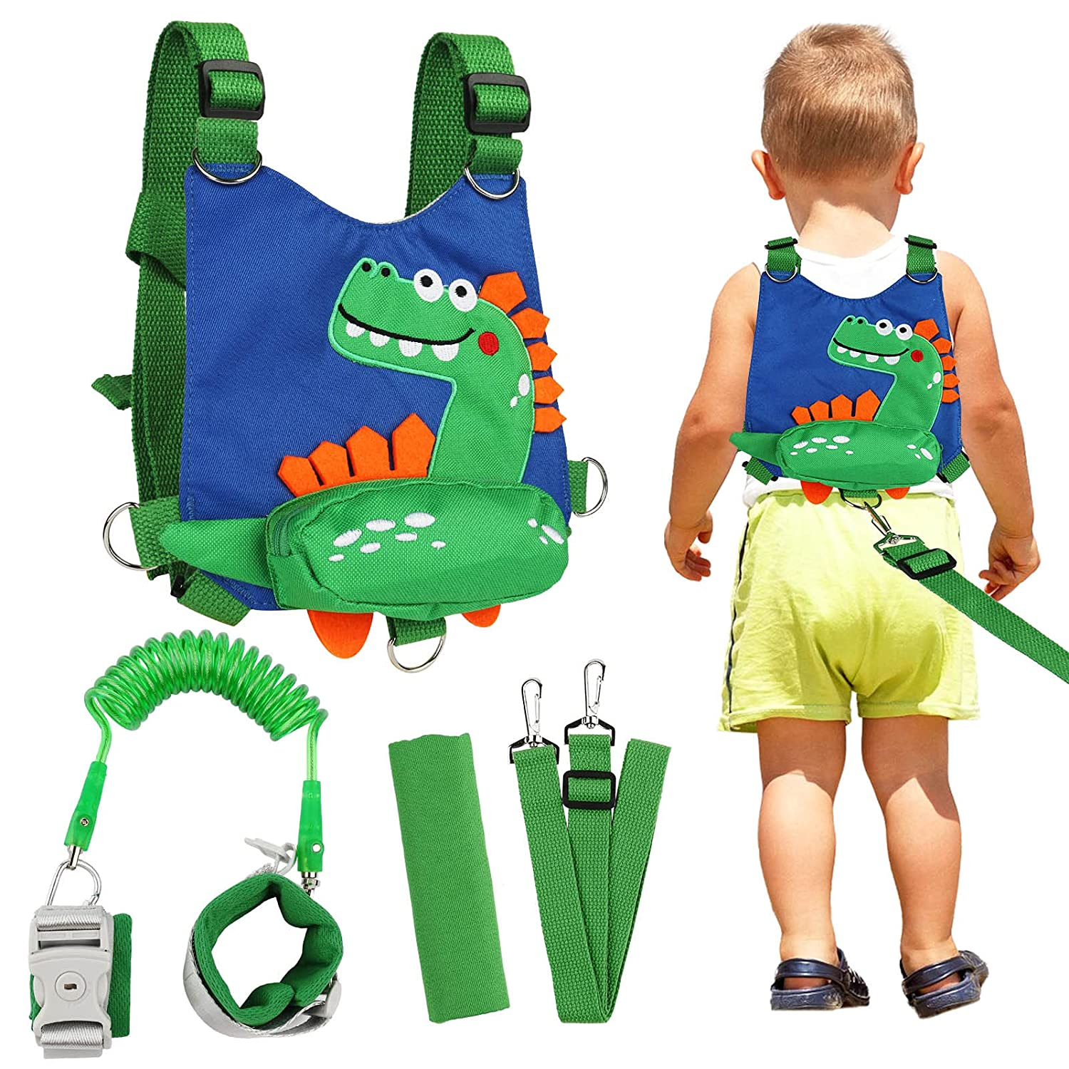 Toddler Backpack Leash Dinosaur 4-in-1 Anti Lost Wrist Link with Lock Harness Leashes for Kids, Zhiwei Child Safety Leash Wristband Walking Assistant Strap Belt for Baby Boys Girls (Blue)
