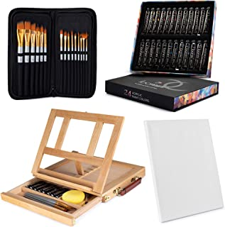 Painting Kit 24 Acrylic Paint (12 ml/0.41 oz.) with 15 Paint Brushes with Tabletop Easel Tabletop Easel (13.38 x 10.25 x 2...