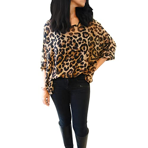 877ce7c8e2ddc5 44Cloverdale Leopard Print top for Women, NO Ironing