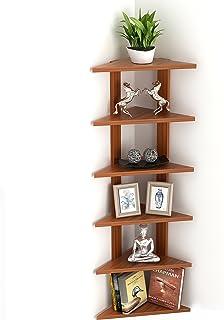 DECORVAIZ Beautiful Engineered Wood Multi-Tier Wall Mounted Corner Shelf   Display Racks