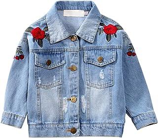 c620ba14b50c1 CHIC-CHIC Blouson Motard Veste Floral Imprimé Fille Garcon - Jeans Denim -  Manche Longue