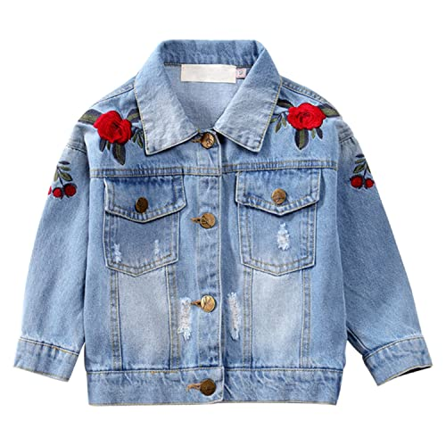 Vividda Kids Girls Clothing Set Embroidered Flower Denim Jacket Jeans Pants Suit Outfit Age 6-14 Years